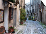 Buy View Down Narrow Cobbled Street, Erice, Sicily, Italy, Europe at AllPosters.com