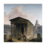 The Maison Carree, the Amphitheater and the Tour Magne in Nimes by Hubert Rober