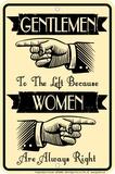 Gentlemen Left Tin Sign