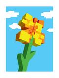 Digital Square 8 Bit Flower over the Sky