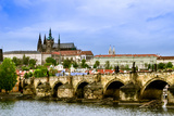 View over the Vltava of Charles Bridge