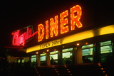 Neon Diner Sign at Night Near Hartford, Connecticut