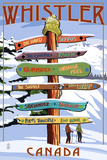Ski Runs Signpost - Whistler, Canada Chicago, Illinois - Skyline at Night Bears and Spring Flowers - Yosemite National Park, California Florida - Lifeguard Shack and Palm Wine Bottle and Glass Group Geometric New York City, NY - Skyline at Night
