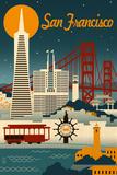 San Francisco, California - Retro Skyline Golden Gate Bridge Today's Won't For Tomorrow's Can't San Francisco California. The Lindbergh Line, San Francisco, California san+francisco