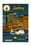 Sydney, Australia - Retro Skyline Chicago Illinois - Retro Skyline Ski Runs Signpost - Whistler, Canada Chicago, Illinois - Skyline at Night Bears and Spring Flowers - Yosemite National Park, California Florida - Lifeguard Shack and Palm Wine Bottle and Glass Group Geometric New York City, NY - Skyline at Night