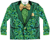 Long Sleeve: Shamrock Suit Costume Tee Superman - Green & White Shield Guinness - Liverpool Bottle Thin Lizzy - Four Leaf Clover