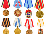 Collection Set Collage of Russian Soviet Medals for Participation in Second World War on White Isol