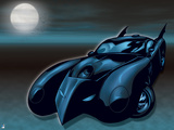 Batman: Batmobile in Black and Blue with Full Moon to the Left and Bats Flying around It