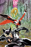 Batman: Poison Ivy Catwoman and Harley Quinn All in Action Poses with Ivy Covered City in Backgroun