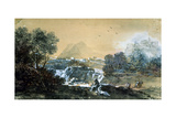 Landscape with a Waterfall, Italian Painting of 18th Century