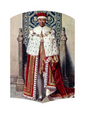 George VI in Coronation Robes: the Crimson Robe of State, with the Cap of Maintenance, 1937