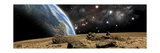 An Earth-Like Planet Rises over a Rocky and Barren Alien World