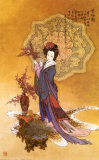 Lady with Plum Flowers Art Print