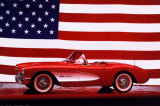 Corvette, 1957 with U.S. Flag