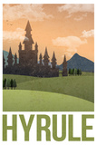 Hyrule Retro Travel Poster The Legend Of Zelda- Link D'Art Zelda- Breath of the Wild