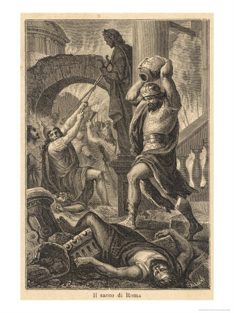 The Fall of Rome Alaric's Visigoths Sack Rome Displaying a ...