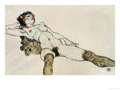 Reclining Female Nude with Legs Spread, 1914 Giclee Print