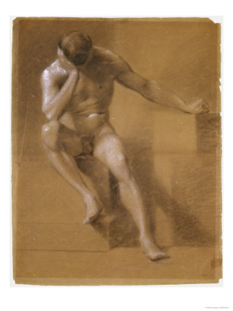 Painted Study of Male Nude, c.1800 Giclee Print. zoom. view in room