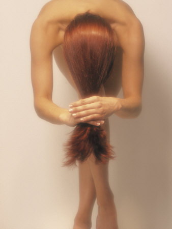 Nude Woman in Graceful Pose with Long Red Hair Photographic Print