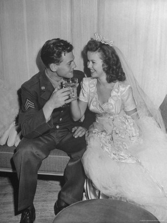 Shirley Temple in a Gorgeous Satin Wedding Dress with Her Husband Premium