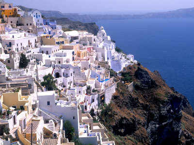 Mountains with Cliffside White Buildings in Santorini Greece Photographic