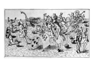 Alice's croquet game, as sketched by Lewis Carroll