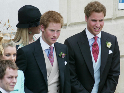 Prince Harry and Prince William after the wedding ceremony at Windsor
