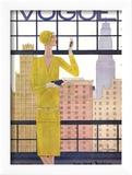 Vogue Cover - May 1928 - City View Reproduction encadrée par Georges Lepape