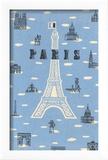 Eiffel Tower and Various Paris Motifs Reproduction encadrée