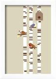 Silver Birch Reproduction encadrée par Dicky Bird