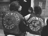 Close Up of Two Hell&#39;s Angels Berdoo Jackets on the Backs of Two Riders