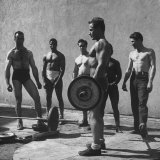 Prisoners at San Quentin Weightlifting in Prison Yard During Recreation Period