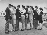 Women Pinning Wings Onto Four Air Force Cadets at Foster Field