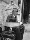 Jerry Lewis Clowning around by Wearing a Birdcage over His Head During Filming of &quot;The Stooge&quot;
