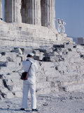 Sailors of 6th Fleet on Shore Leave Sightseeing Ruins Near Athens