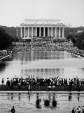Crowd of People Attending a Civil Rights Rally at the Lincoln Memorial