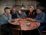 Old Gold Miners Play a Game of Poker at Twilight  Volcano Grocery Store  Volcano  California  1948