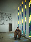 Portrait of Artist Henri Matisse in Chapel He Created  Tiles on Wall Depict Stations of the Cross