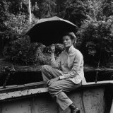 """Katharine Hepburn in African Jungle  Filming """"The African Queen"""" Along the Ruki River in the Congo"""
