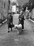 "Alice B Toklas and Author Gertrude Stein  Walking Poodle ""Basket"" During Liberation from Germans"