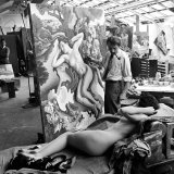 "Artist Thomas Hart Benton Working on Painting ""Rape of Persephone"" in Studio Using Live Nude Model"