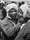 Algerian Refugees Greeting Each Other after Returning from Tunisia