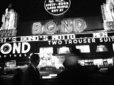Bright Neon Lights of Bond's Clothing Store