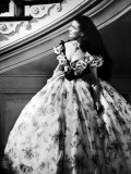 """Vivien Leigh  as Scarlet O'Hara  Waits Anxiously at Staircase in Scene from """"Gone with the Wind"""""""