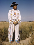 Shoshone Indian Modeling White Leather Beadworked Costume  Fort Hall Indian Reservation  Idaho