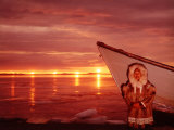 Native Alaskan Man Posing with His Boat  Multiple Exposure of Midnight Sun Seen over the Water