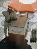 Coca-Cola Vendor Leaning on Cart with Umbrella on Mosaic Sidewalk  Copacabana Beach  Rio de Janeiro
