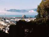 View of the Golden Gate Bridge Covered in Clouds