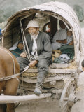 Russian Look of the Land Essay: Covered Wagon Driven by Old Man  with Family