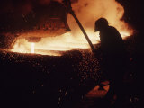 Worker Pouring Hot Steel at an Unidentified Brazilian Steel Plant